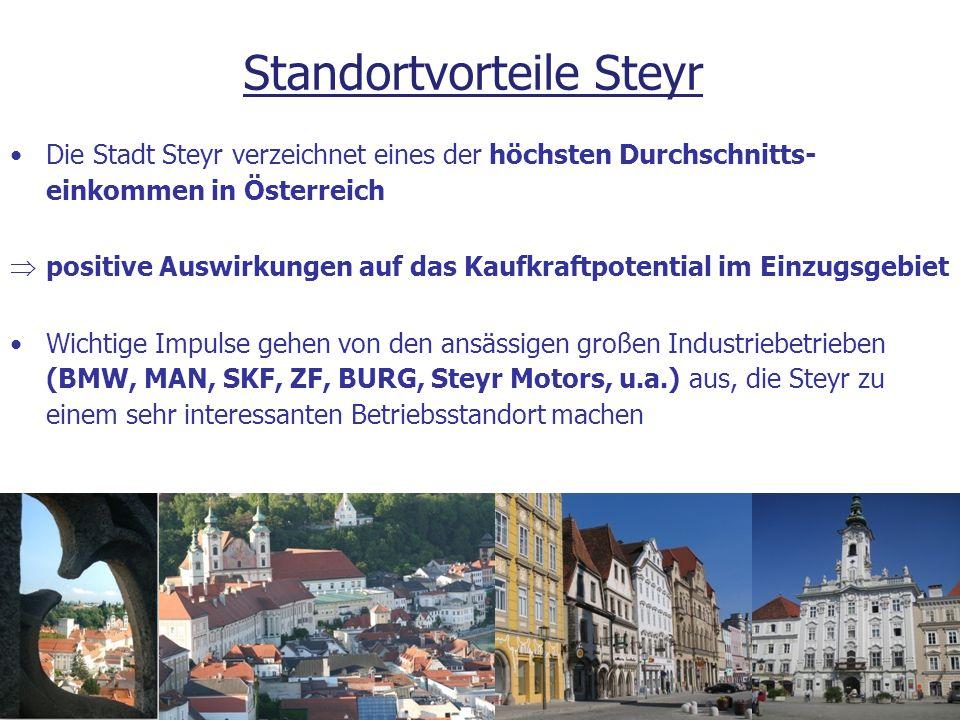 Die Stadt Steyr verzeichnet eines der höchsten Durchschnitts- einkommen in Österreich  positive Auswirkungen auf das Kaufkraftpotential im Einzugsgeb