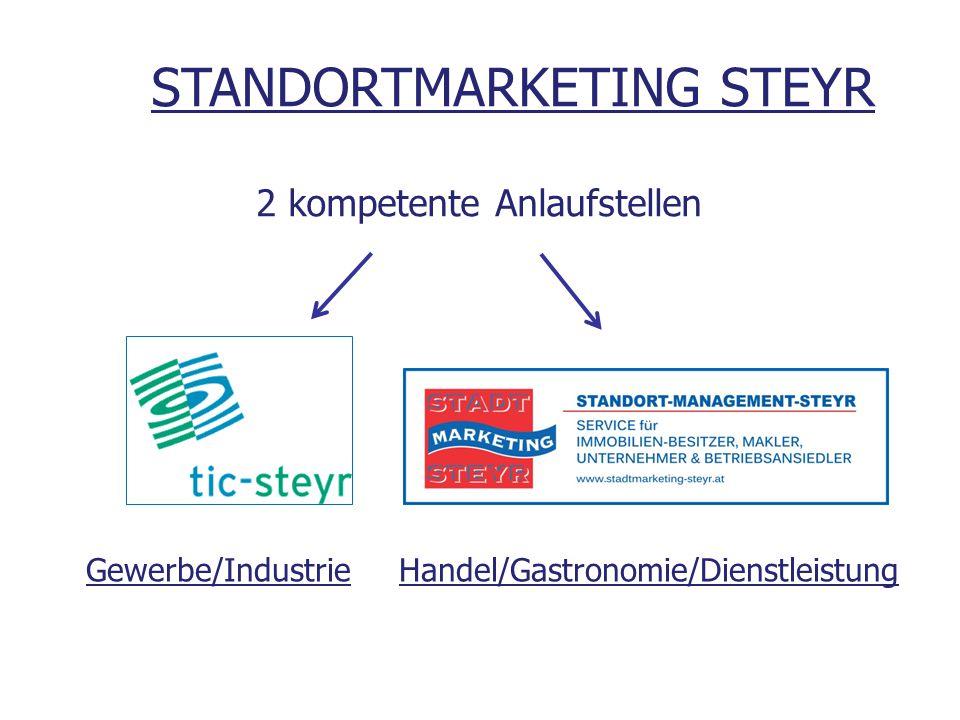 Gewerbe/Industrie Handel/Gastronomie/Dienstleistung STANDORTMARKETING STEYR 2 kompetente Anlaufstellen