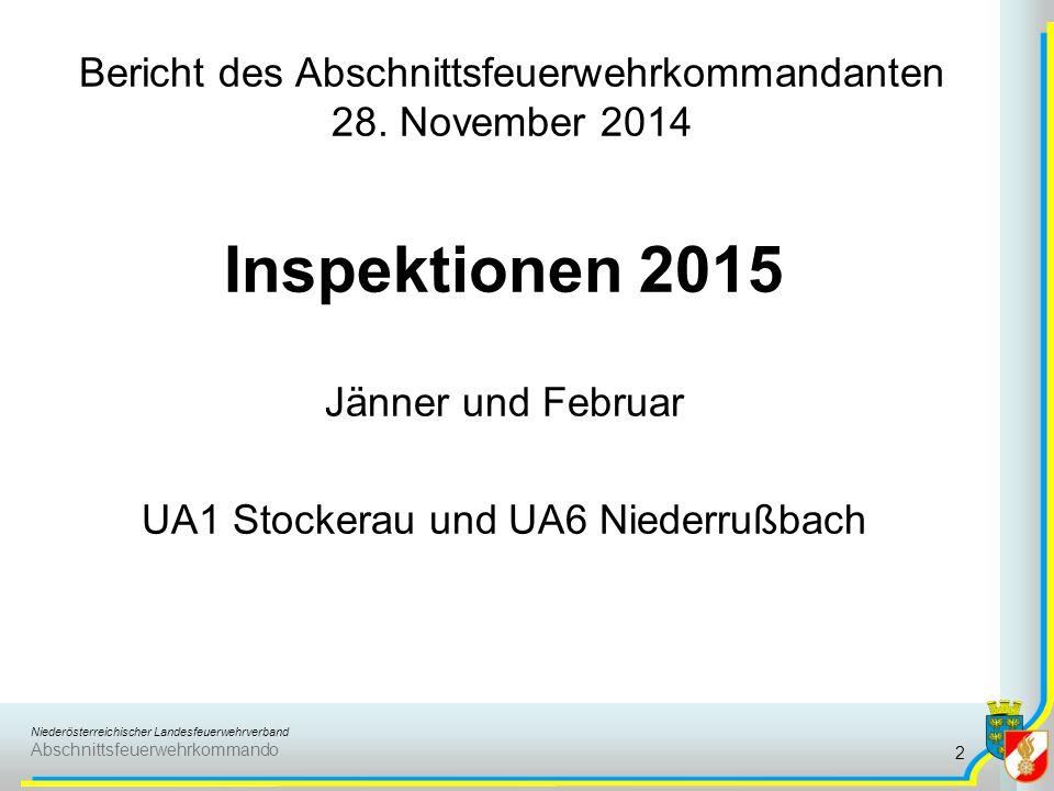 Niederösterreichischer Landesfeuerwehrverband Abschnittsfeuerwehrkommando Bericht des Abschnittsfeuerwehrkommandanten 28. November 2014 Inspektionen 2