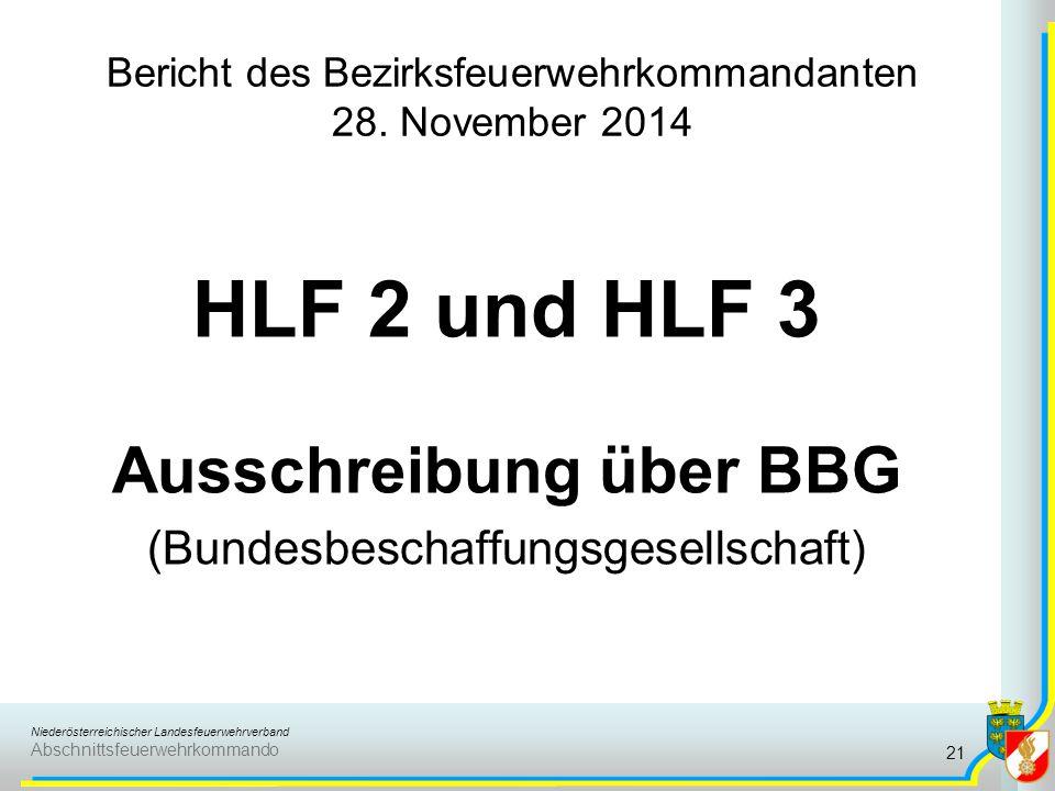 Niederösterreichischer Landesfeuerwehrverband Abschnittsfeuerwehrkommando Bericht des Bezirksfeuerwehrkommandanten 28. November 2014 HLF 2 und HLF 3 A
