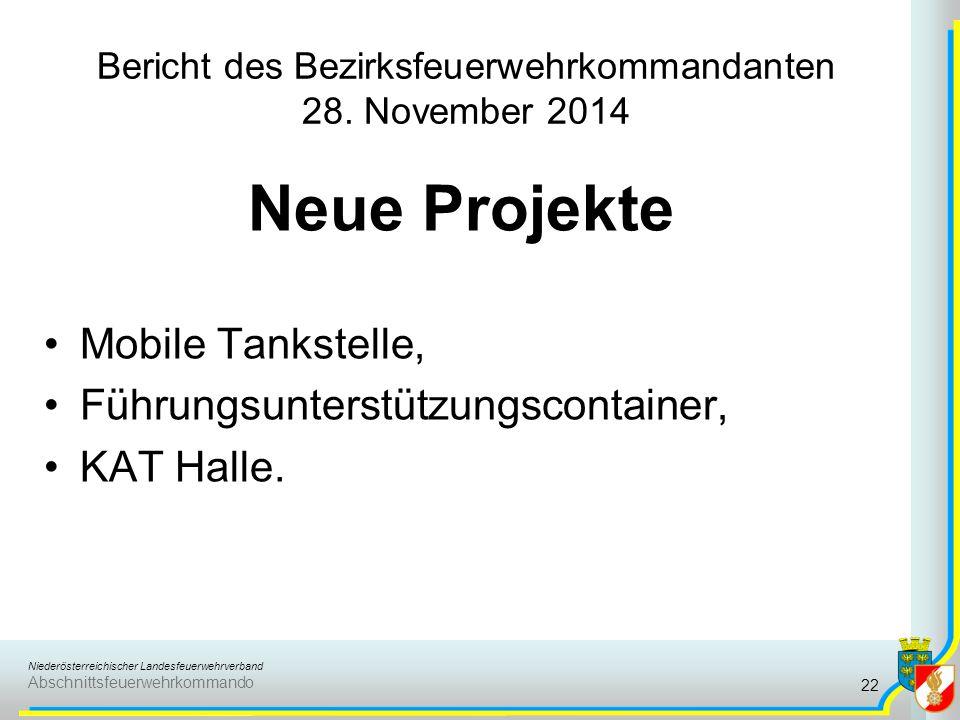 Niederösterreichischer Landesfeuerwehrverband Abschnittsfeuerwehrkommando Bericht des Bezirksfeuerwehrkommandanten 28. November 2014 Neue Projekte Mob