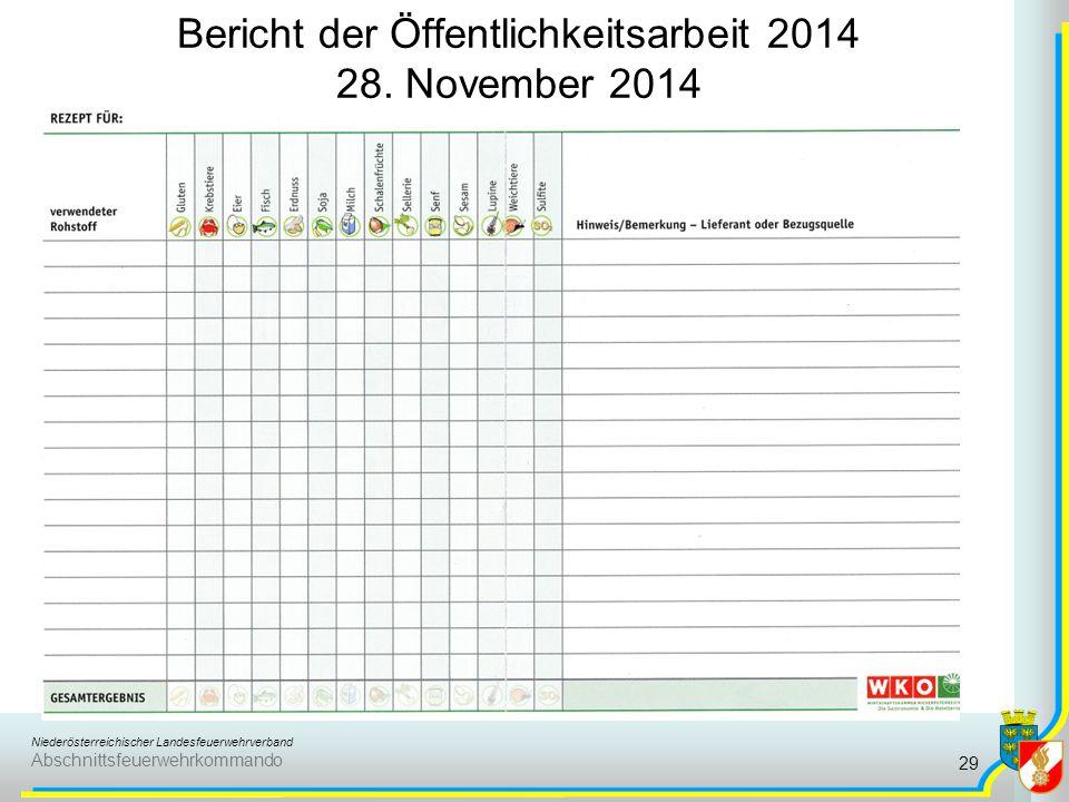 Niederösterreichischer Landesfeuerwehrverband Abschnittsfeuerwehrkommando Bericht der Öffentlichkeitsarbeit 2014 28. November 2014 29