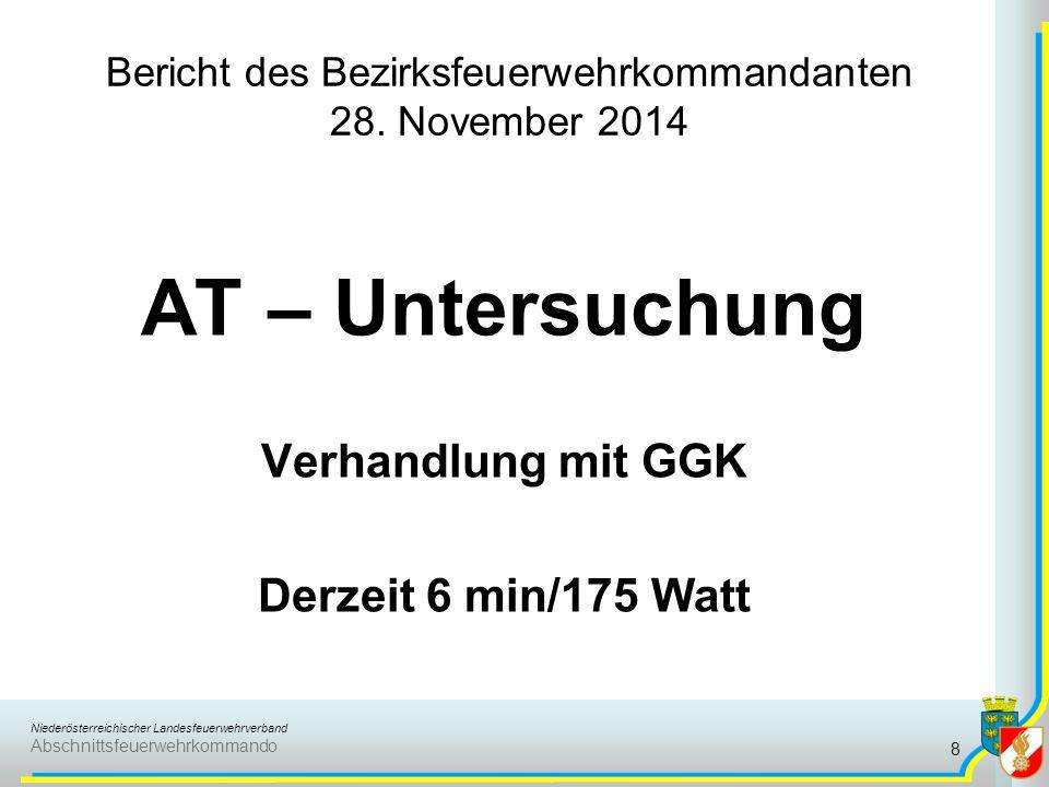 Niederösterreichischer Landesfeuerwehrverband Abschnittsfeuerwehrkommando Bericht des Bezirksfeuerwehrkommandanten 28. November 2014 AT – Untersuchung
