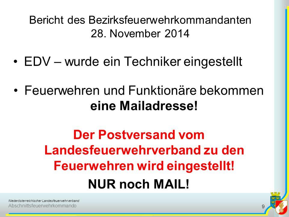 Niederösterreichischer Landesfeuerwehrverband Abschnittsfeuerwehrkommando Bericht des Bezirksfeuerwehrkommandanten 28. November 2014 EDV – wurde ein T