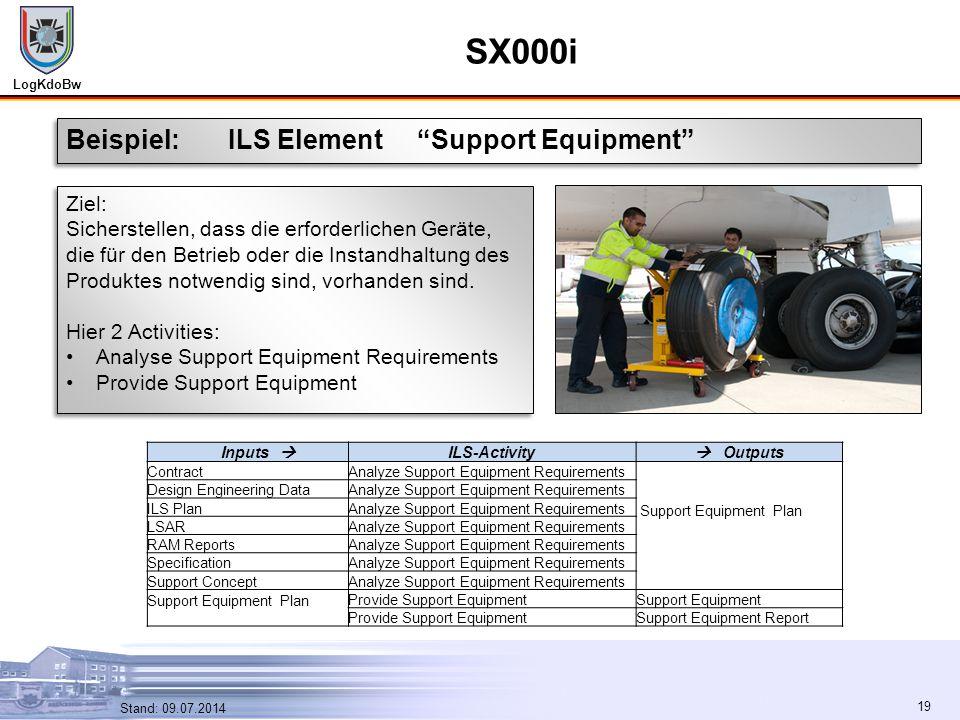 """LogKdoBw 19 Stand: 09.07.2014 19 SX000i Beispiel: ILS Element """"Support Equipment"""" Ziel: Sicherstellen, dass die erforderlichen Geräte, die für den Bet"""