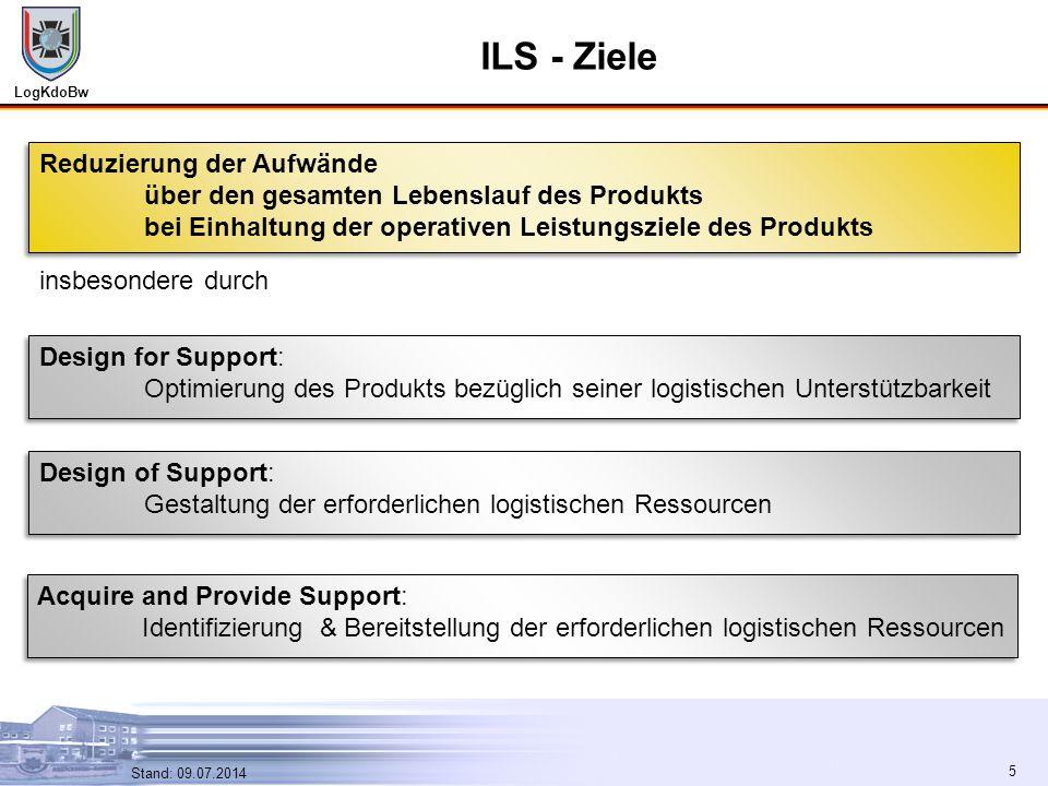 LogKdoBw 5 Stand: 09.07.2014 5 ILS - Ziele insbesondere durch Design for Support: Optimierung des Produkts bezüglich seiner logistischen Unterstützbar