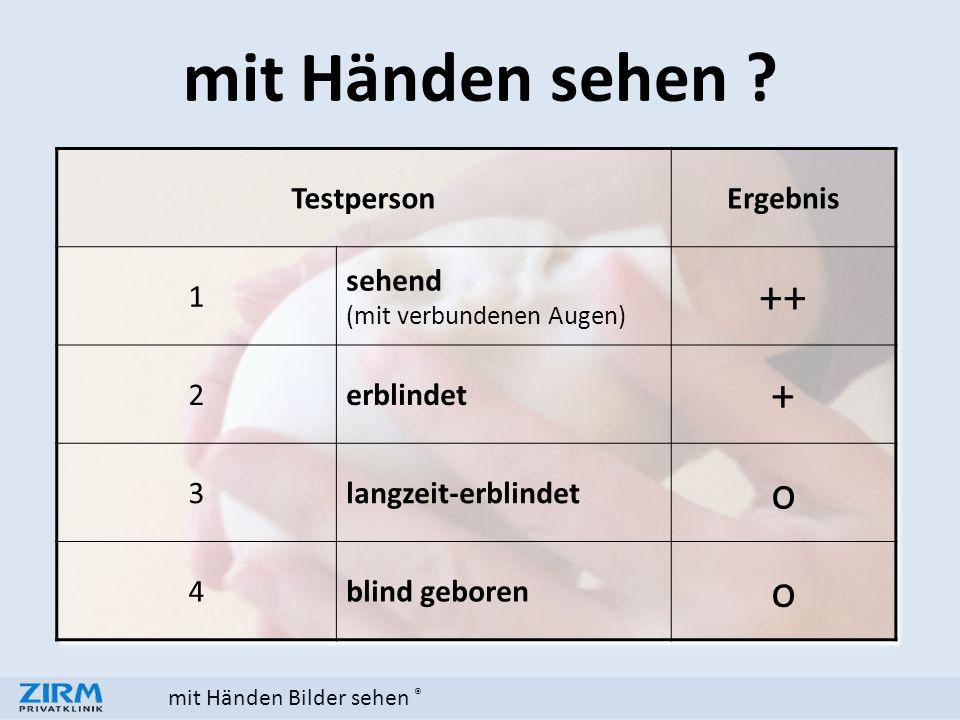 mit Händen Bilder sehen ® TestpersonErgebnis 1 sehend (mit verbundenen Augen) ++ 2erblindet + 3langzeit-erblindet o 4blind geboren o mit Händen sehen