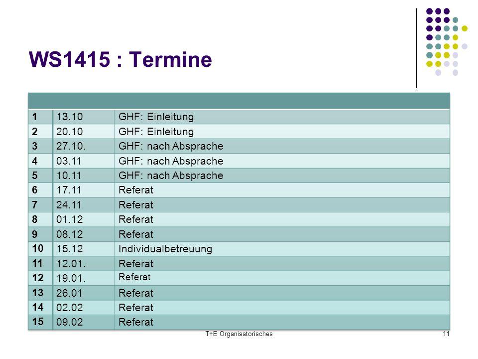 WS1415 : Termine T+E Organisatorisches11