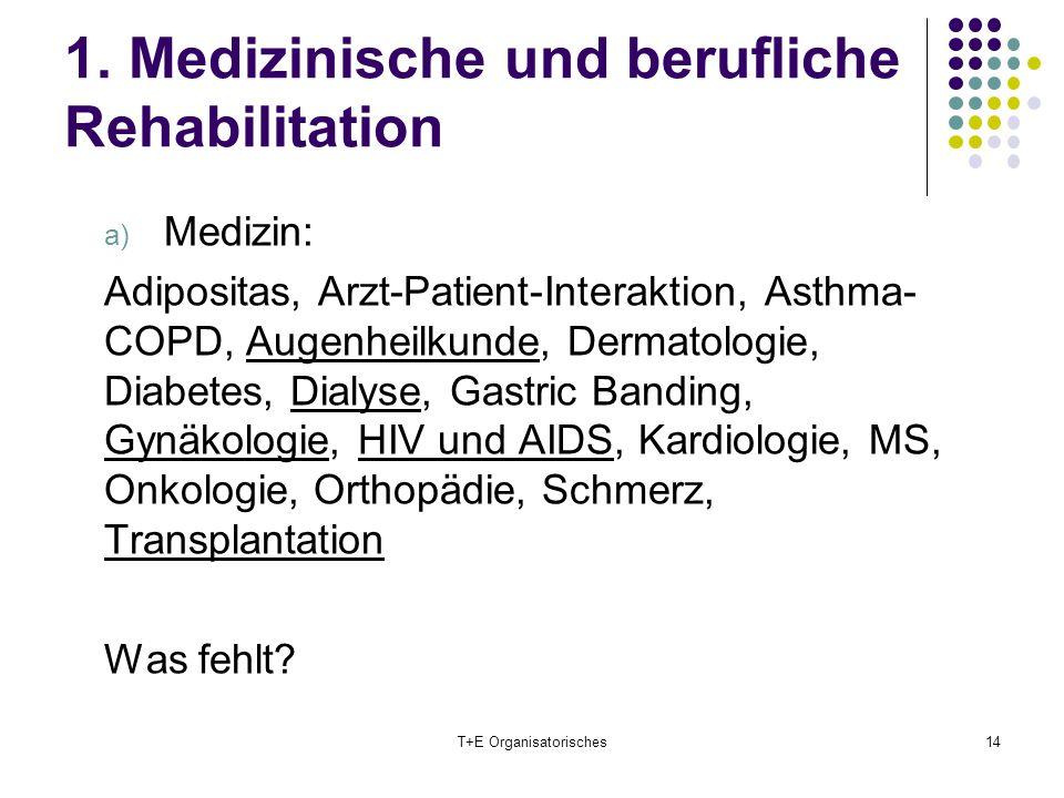 1. Medizinische und berufliche Rehabilitation a) Medizin: Adipositas, Arzt-Patient-Interaktion, Asthma- COPD, Augenheilkunde, Dermatologie, Diabetes,