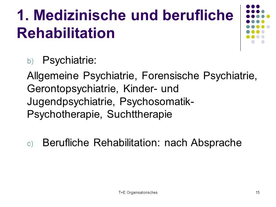 1. Medizinische und berufliche Rehabilitation b) Psychiatrie: Allgemeine Psychiatrie, Forensische Psychiatrie, Gerontopsychiatrie, Kinder- und Jugendp