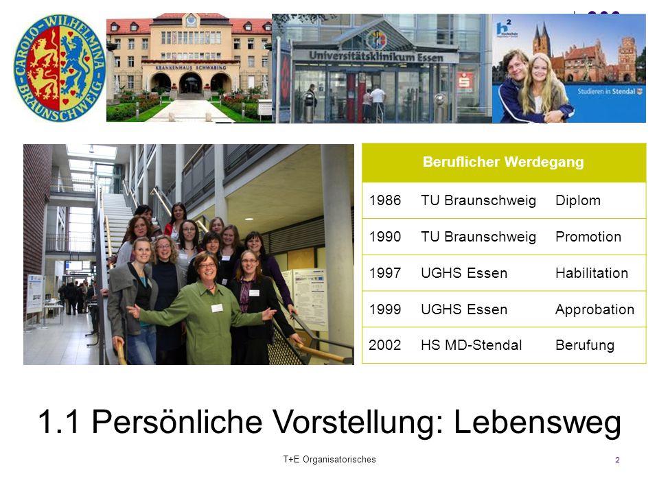 2 Beruflicher Werdegang 1986TU BraunschweigDiplom 1990TU BraunschweigPromotion 1997UGHS EssenHabilitation 1999UGHS EssenApprobation 2002HS MD-StendalB