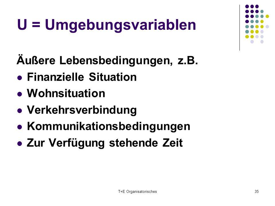 U = Umgebungsvariablen T+E Organisatorisches35 Äußere Lebensbedingungen, z.B. Finanzielle Situation Wohnsituation Verkehrsverbindung Kommunikationsbed