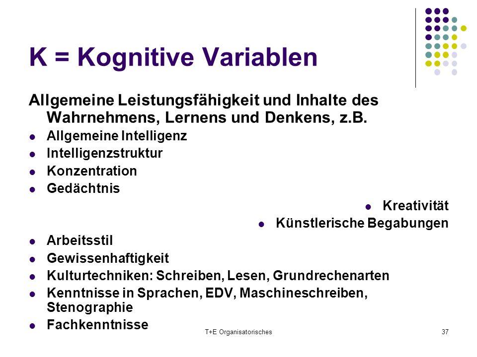 K = Kognitive Variablen T+E Organisatorisches37 Allgemeine Leistungsfähigkeit und Inhalte des Wahrnehmens, Lernens und Denkens, z.B. Allgemeine Intell