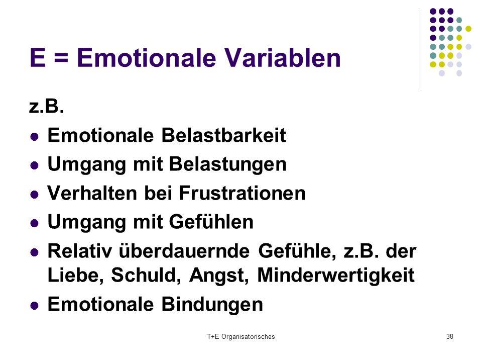 E = Emotionale Variablen T+E Organisatorisches38 z.B. Emotionale Belastbarkeit Umgang mit Belastungen Verhalten bei Frustrationen Umgang mit Gefühlen