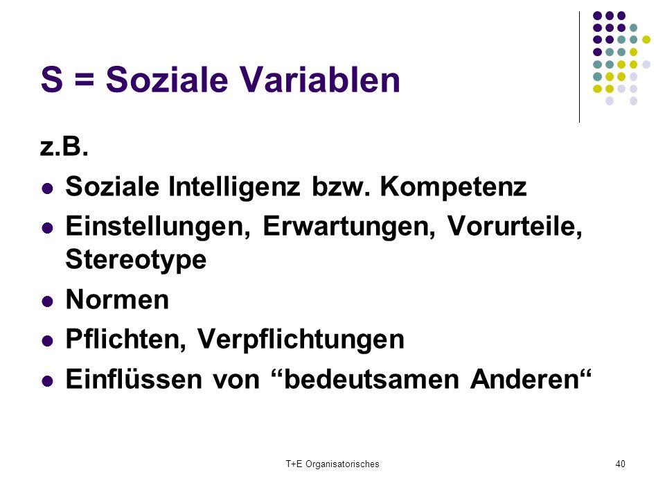 S = Soziale Variablen T+E Organisatorisches40 z.B. Soziale Intelligenz bzw. Kompetenz Einstellungen, Erwartungen, Vorurteile, Stereotype Normen Pflich