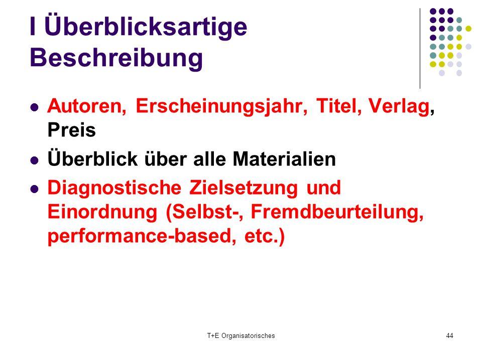 I Überblicksartige Beschreibung Autoren, Erscheinungsjahr, Titel, Verlag, Preis Überblick über alle Materialien Diagnostische Zielsetzung und Einordnu