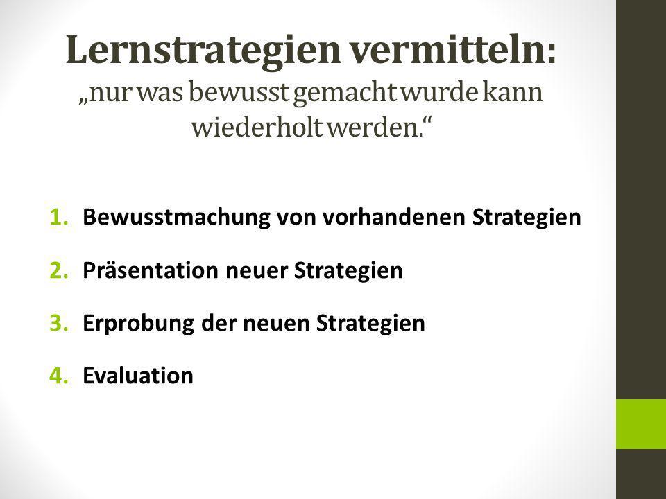 """Lernstrategien vermitteln: """"nur was bewusst gemacht wurde kann wiederholt werden. 1.Bewusstmachung von vorhandenen Strategien 2.Präsentation neuer Strategien 3.Erprobung der neuen Strategien 4.Evaluation"""