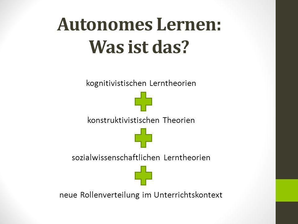 Autonomes Lernen: Was ist das? kognitivistischen Lerntheorien konstruktivistischen Theorien sozialwissenschaftlichen Lerntheorien neue Rollenverteilun