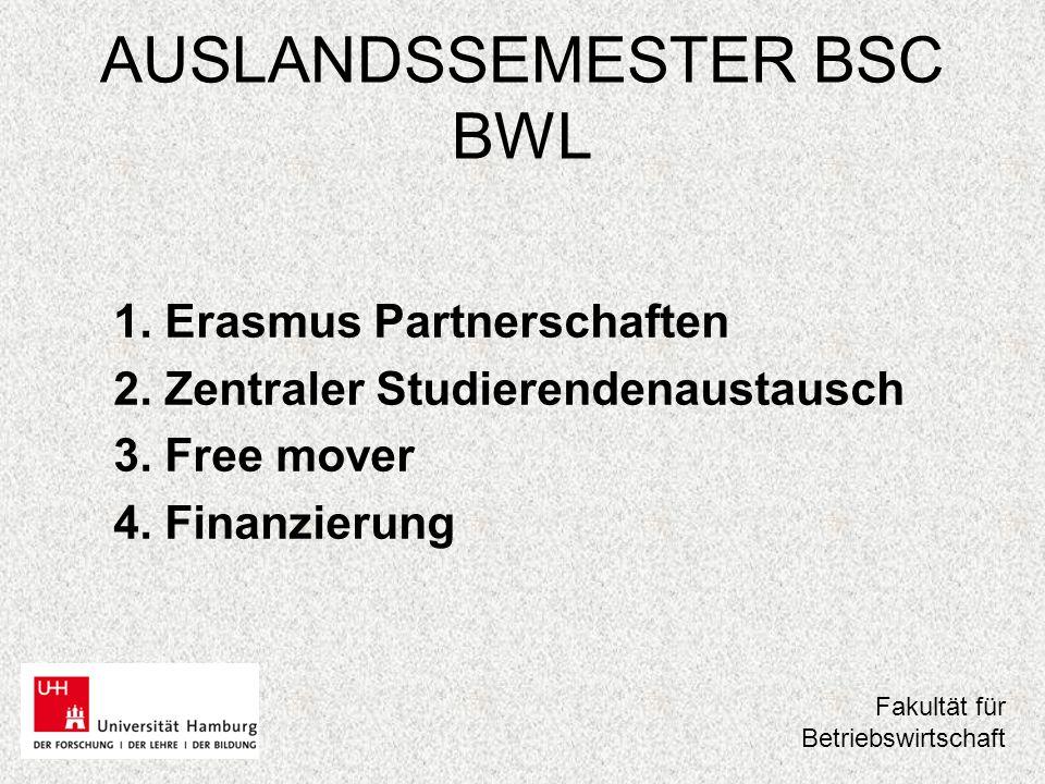 "AUSLANDSSEMESTER BSC BWL 1.ERASMUS Partnerschaften European Region Action Scheme for the Mobility of University Students"" –3."
