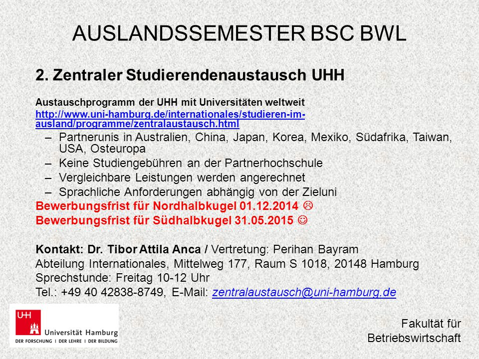 AUSLANDSSEMESTER BSC BWL 3.