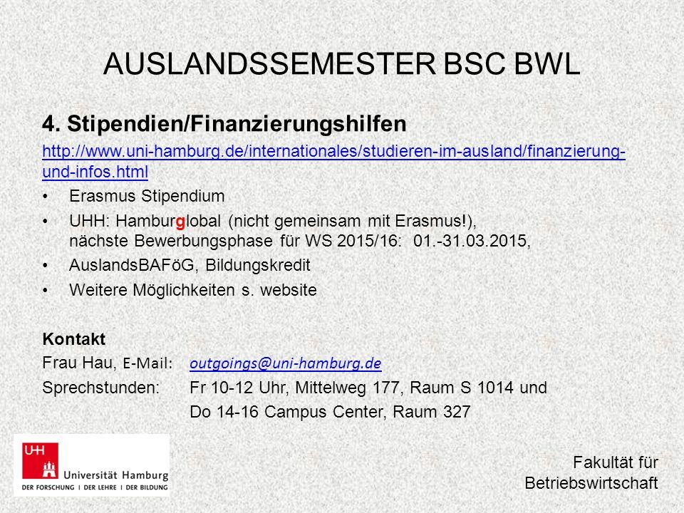 AUSLANDSSEMESTER BSC BWL Danke für Ihre Aufmerksamkeit – bis bald in unserer Sprechstunde !!.