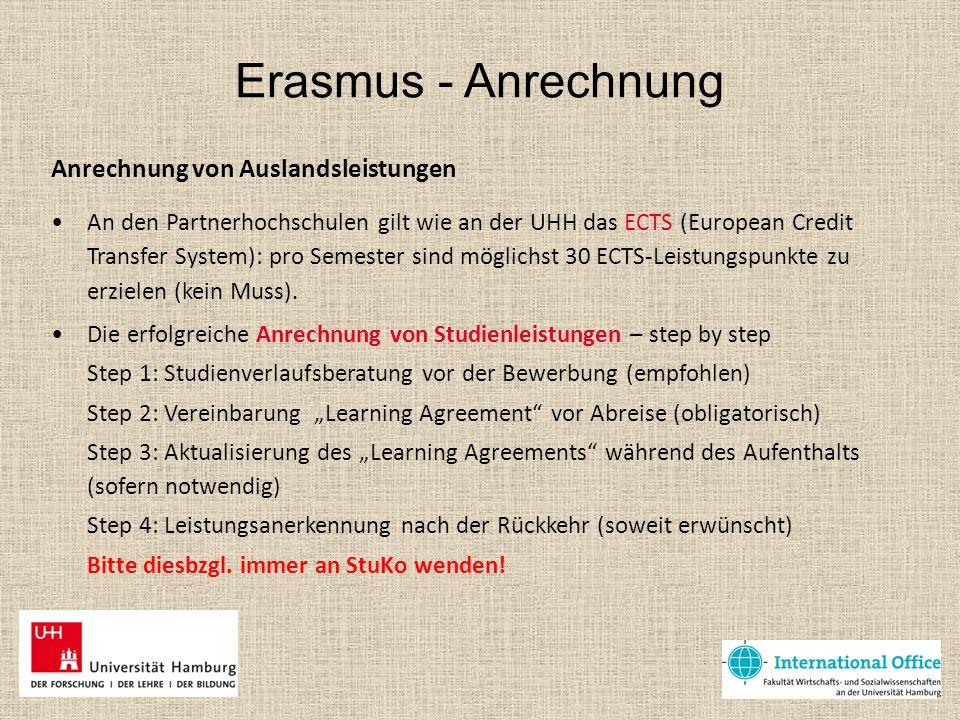 Erasmus - Anrechnung Anrechnung von Auslandsleistungen An den Partnerhochschulen gilt wie an der UHH das ECTS (European Credit Transfer System): pro S