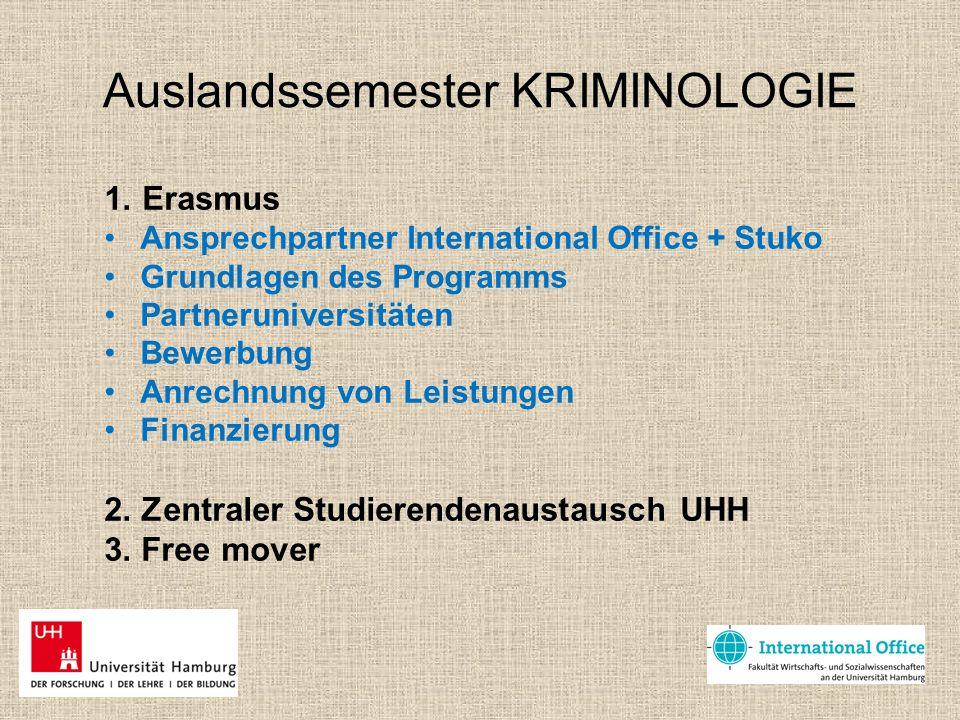 Auslandssemester KRIMINOLOGIE 1. Erasmus Ansprechpartner International Office + Stuko Grundlagen des Programms Partneruniversitäten Bewerbung Anrechnu
