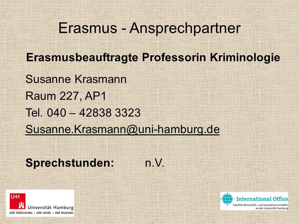 Erasmus - Ansprechpartner Erasmusbeauftragte Professorin Kriminologie Susanne Krasmann Raum 227, AP1 Tel. 040 – 42838 3323 Susanne.Krasmann@uni-hambur