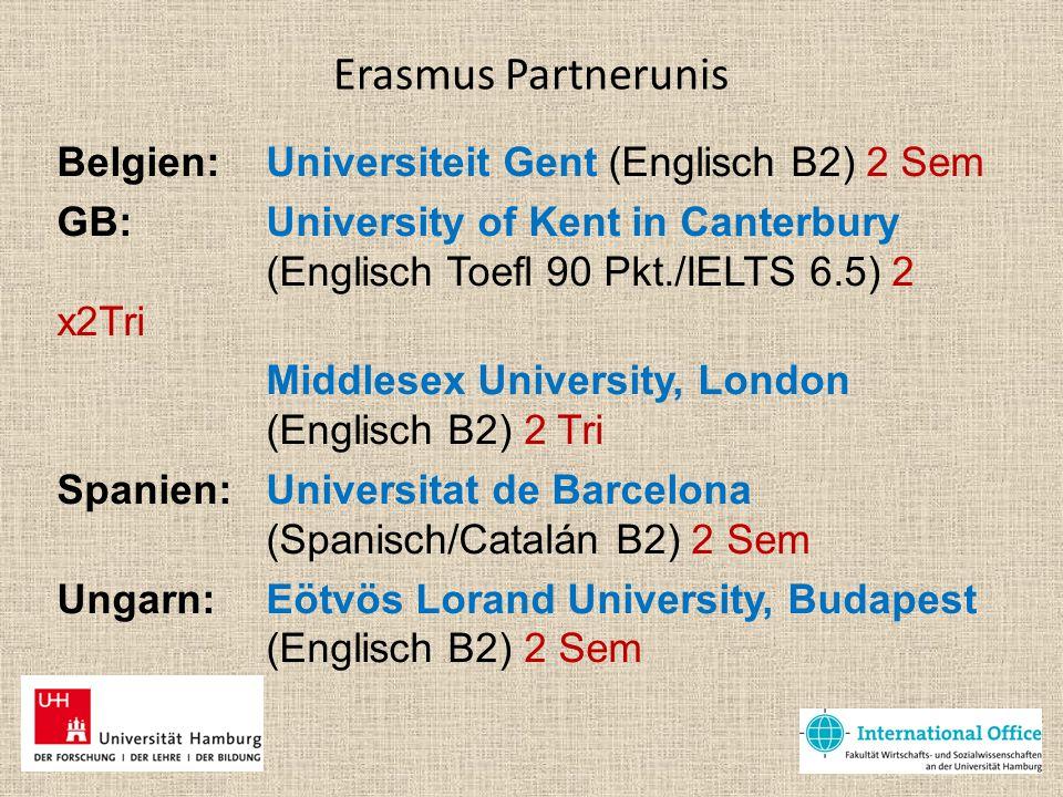 Erasmus Partnerunis Belgien: Universiteit Gent (Englisch B2) 2 Sem GB: University of Kent in Canterbury (Englisch Toefl 90 Pkt./IELTS 6.5) 2 x2Tri Mid