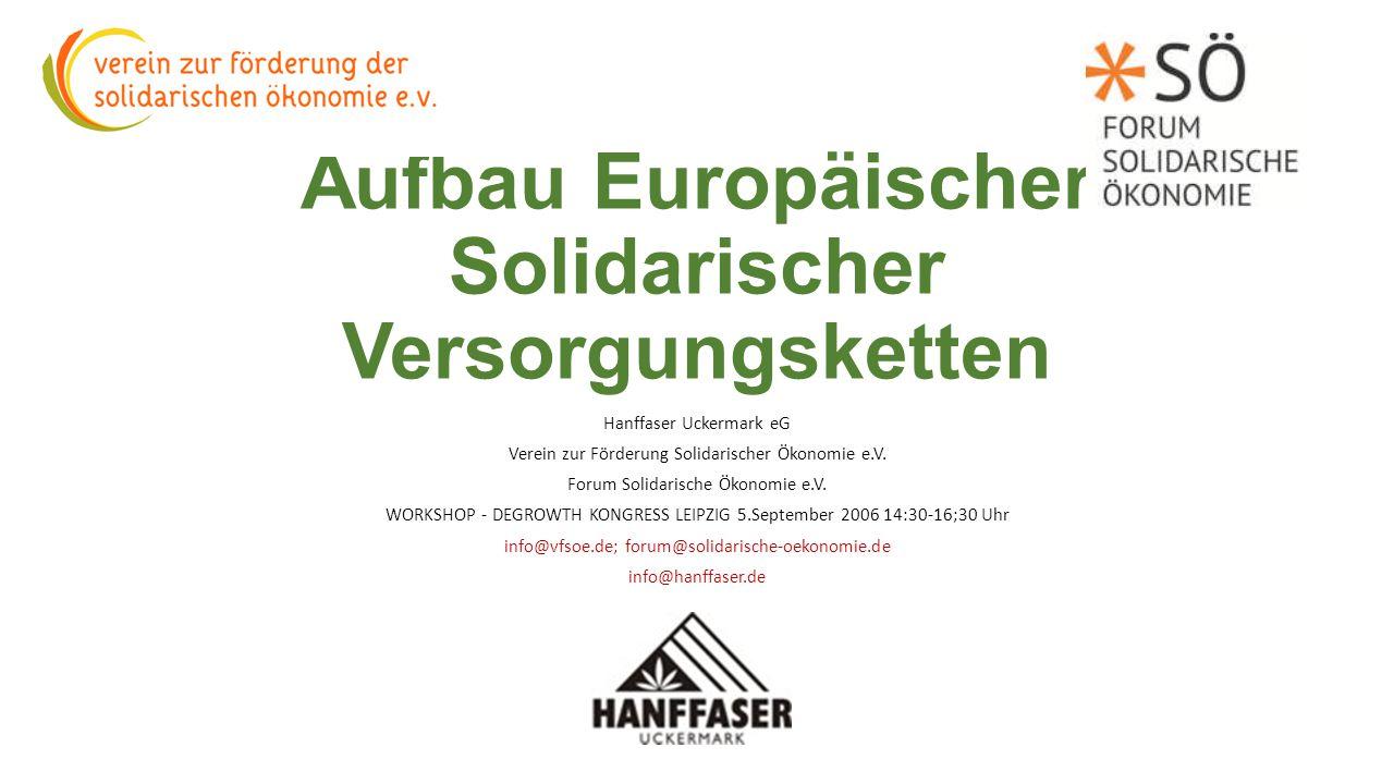 Aufbau Europäischer Solidarischer Versorgungsketten Hanffaser Uckermark eG Verein zur Förderung Solidarischer Ökonomie e.V.