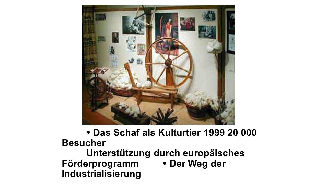 Museen:  Das Schaf als Kulturtier 1999 20 000 Besucher Unterstützung durch europäisches Förderprogramm  Der Weg der Industrialisierung