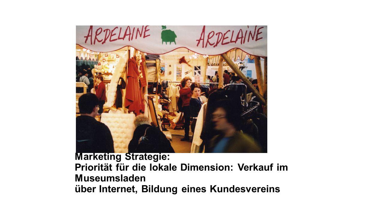 Marketing Strategie: Priorität für die lokale Dimension: Verkauf im Museumsladen über Internet, Bildung eines Kundesvereins