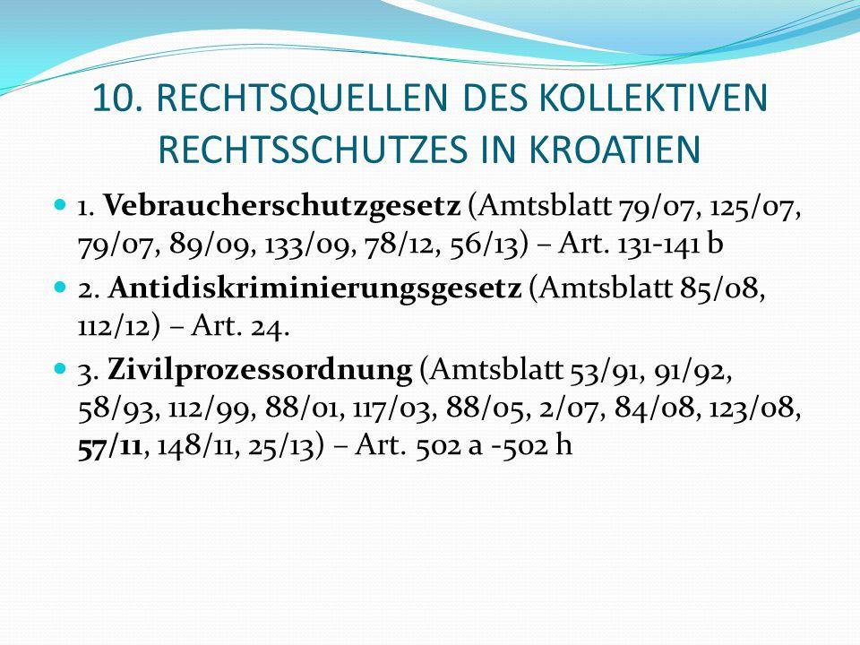 10. RECHTSQUELLEN DES KOLLEKTIVEN RECHTSSCHUTZES IN KROATIEN 1. Vebraucherschutzgesetz (Amtsblatt 79/07, 125/07, 79/07, 89/09, 133/09, 78/12, 56/13) –