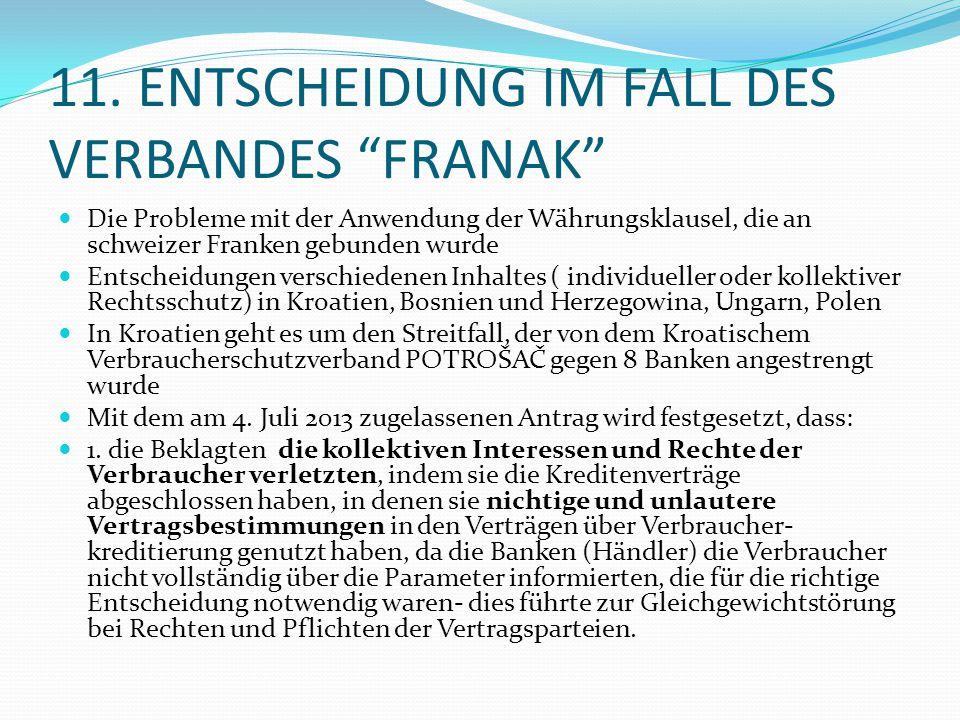 """11. ENTSCHEIDUNG IM FALL DES VERBANDES """"FRANAK"""" Die Probleme mit der Anwendung der Währungsklausel, die an schweizer Franken gebunden wurde Entscheidu"""
