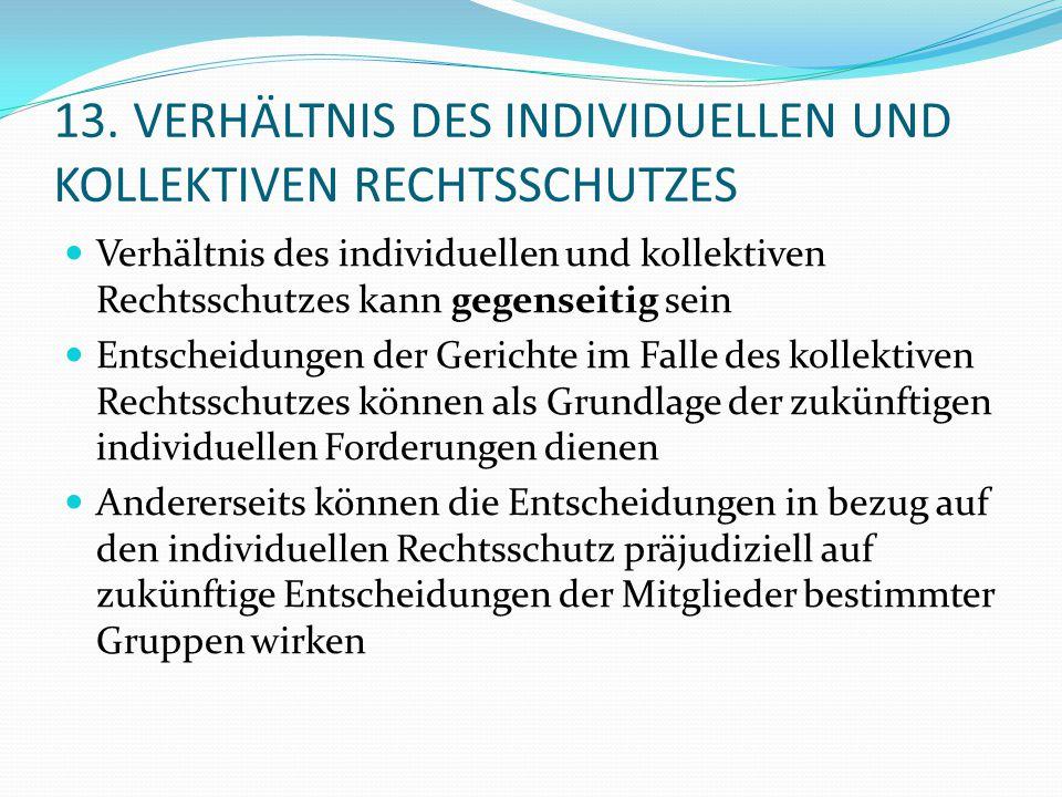 13. VERHÄLTNIS DES INDIVIDUELLEN UND KOLLEKTIVEN RECHTSSCHUTZES Verhältnis des individuellen und kollektiven Rechtsschutzes kann gegenseitig sein Ents