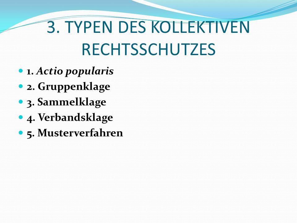3. TYPEN DES KOLLEKTIVEN RECHTSSCHUTZES 1. Actio popularis 2. Gruppenklage 3. Sammelklage 4. Verbandsklage 5. Musterverfahren