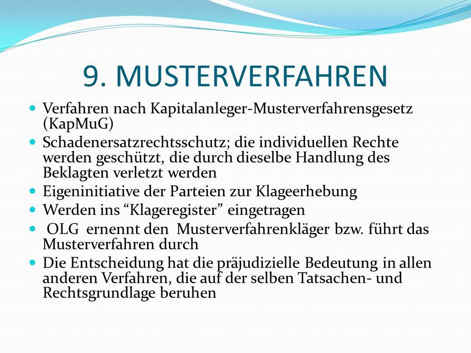 9. MUSTERVERFAHREN Verfahren nach Kapitalanleger-Musterverfahrensgesetz (KapMuG) Schadenersatzrechtsschutz; die individuellen Rechte werden geschützt,