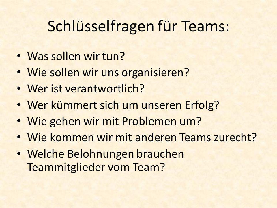 Schlüsselfragen für Teams: Was sollen wir tun? Wie sollen wir uns organisieren? Wer ist verantwortlich? Wer kümmert sich um unseren Erfolg? Wie gehen