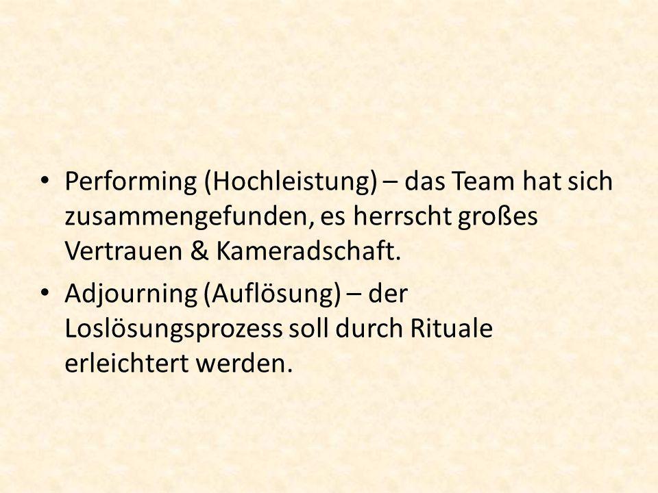 Performing (Hochleistung) – das Team hat sich zusammengefunden, es herrscht großes Vertrauen & Kameradschaft. Adjourning (Auflösung) – der Loslösungsp