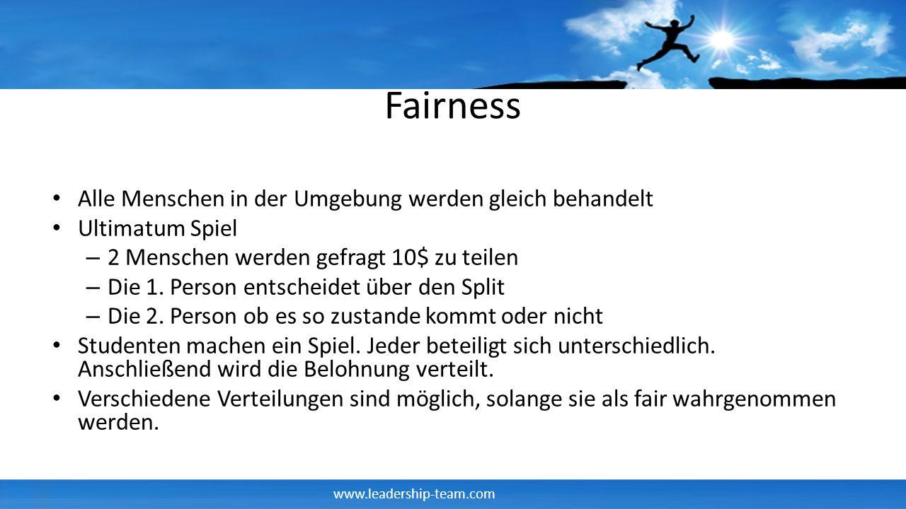 www.leadership-team.com Fairness Alle Menschen in der Umgebung werden gleich behandelt Ultimatum Spiel – 2 Menschen werden gefragt 10$ zu teilen – Die