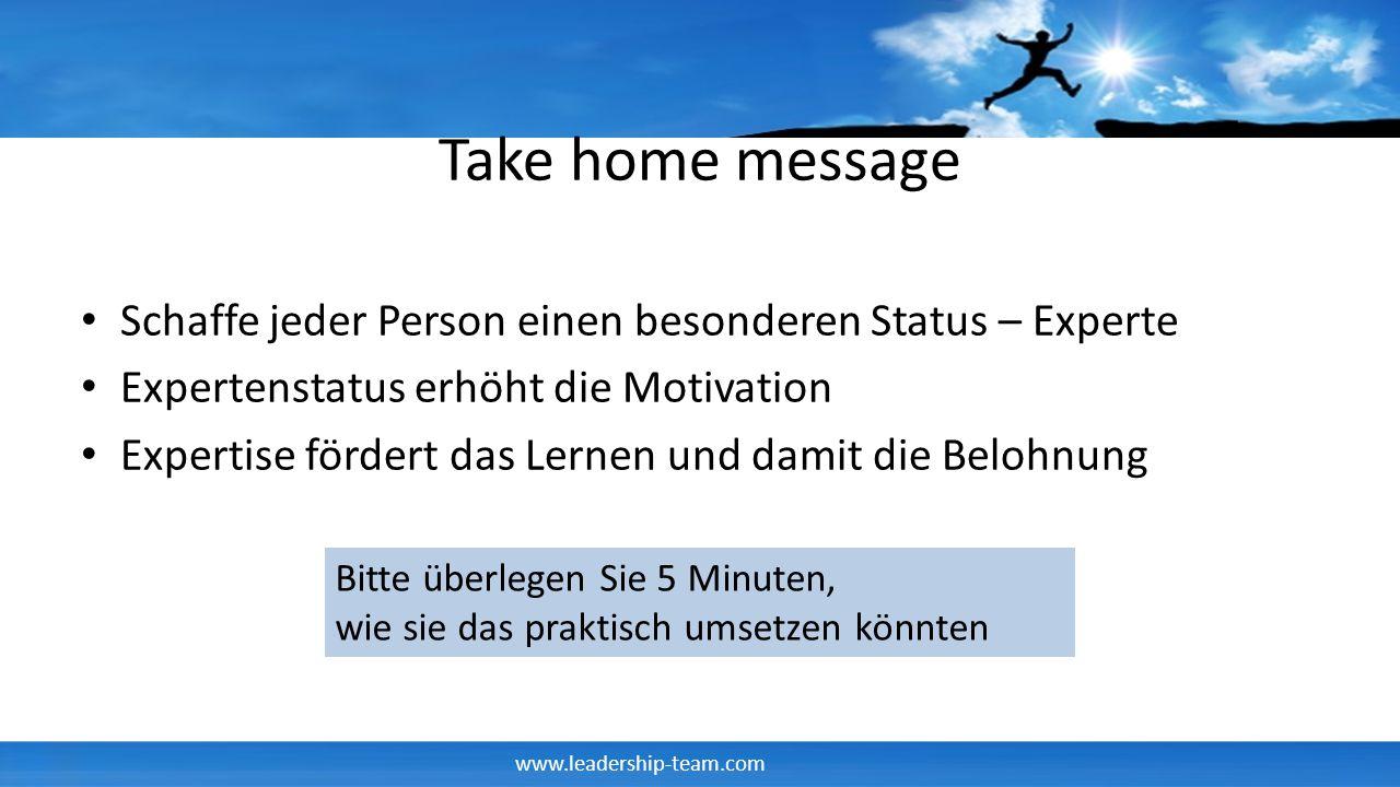 www.leadership-team.com Take home message Schaffe jeder Person einen besonderen Status – Experte Expertenstatus erhöht die Motivation Expertise förder