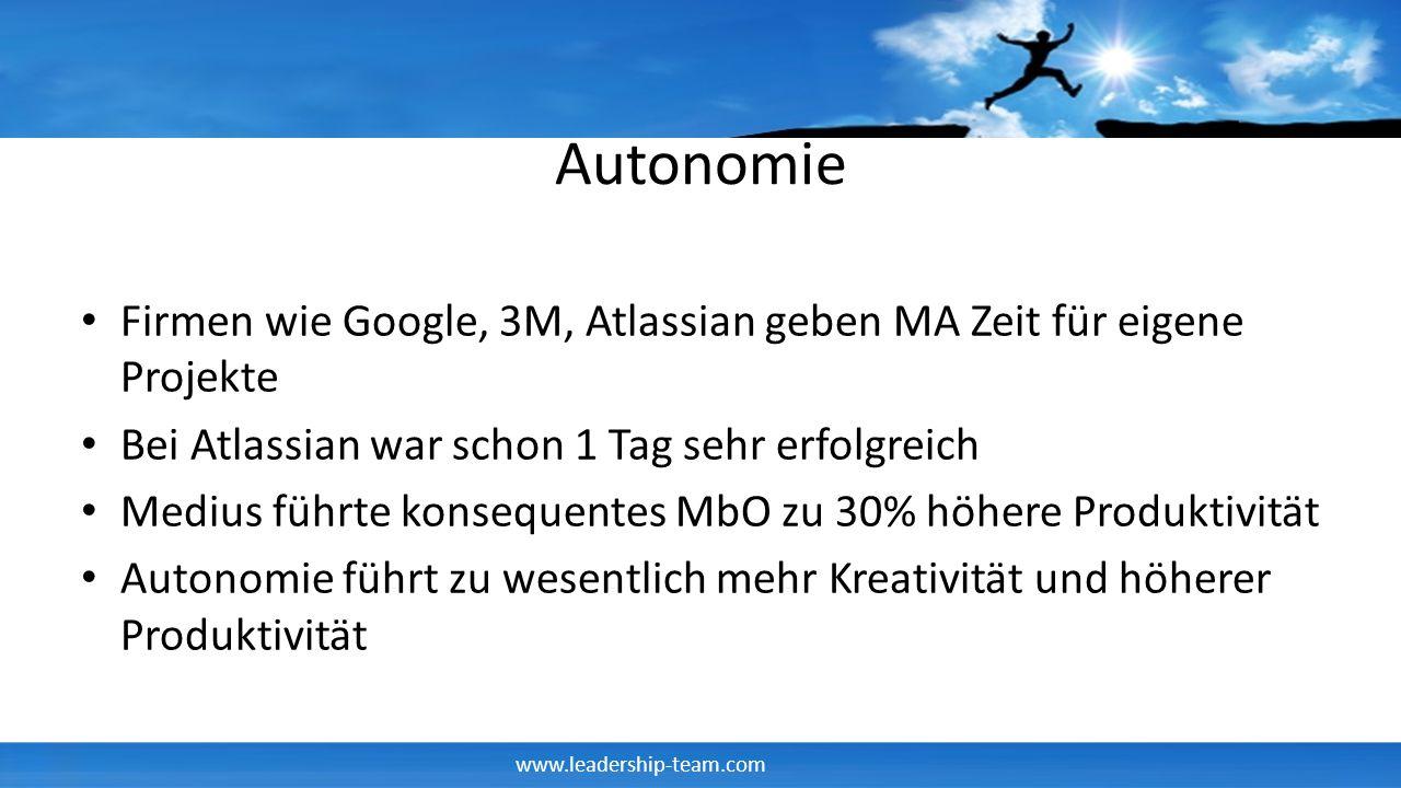 www.leadership-team.com Autonomie Firmen wie Google, 3M, Atlassian geben MA Zeit für eigene Projekte Bei Atlassian war schon 1 Tag sehr erfolgreich Me