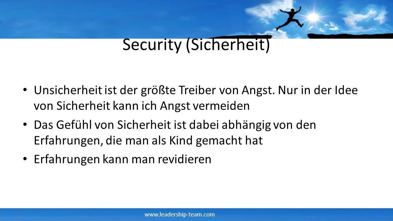www.leadership-team.com Security (Sicherheit) Unsicherheit ist der größte Treiber von Angst. Nur in der Idee von Sicherheit kann ich Angst vermeiden D
