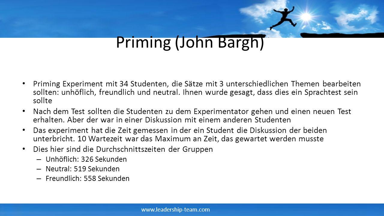 www.leadership-team.com Priming (John Bargh) Priming Experiment mit 34 Studenten, die Sätze mit 3 unterschiedlichen Themen bearbeiten sollten: unhöfli