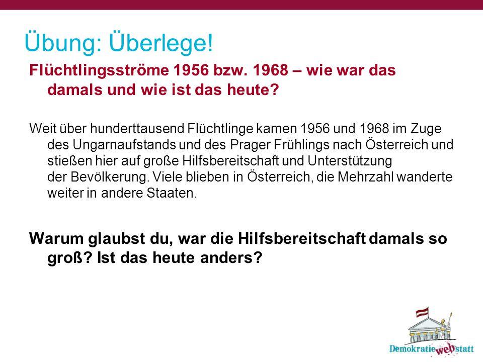 Übung: Überlege! Flüchtlingsströme 1956 bzw. 1968 – wie war das damals und wie ist das heute? Weit über hunderttausend Flüchtlinge kamen 1956 und 1968