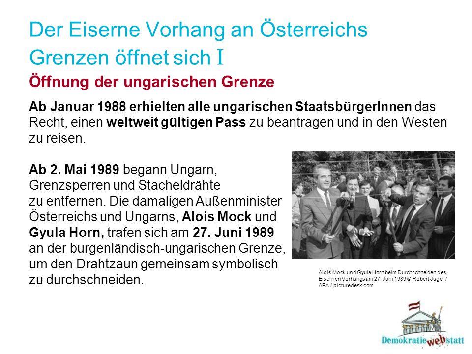 Der Eiserne Vorhang an Österreichs Grenzen öffnet sich I Öffnung der ungarischen Grenze Ab Januar 1988 erhielten alle ungarischen StaatsbürgerInnen da