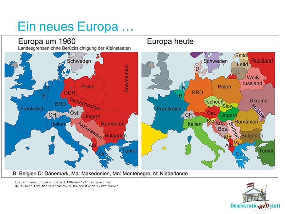 Ein neues Europa … Die Landkarte Europas wurde nach 1989 und 1991 neu gezeichnet. © Parlamentsdirektion / Kinderbüro der Universität Wien / Franz Stür