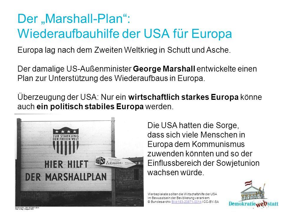 """Der """"Marshall-Plan : Wiederaufbauhilfe der USA für Europa Die Spannungen nehmen zu Länder, die am Marshall-Plan teilnahmen, erhielten Geld, Lebensmittel, Medikamente, Heizstoffe oder Maschinen für den wirtschaftlichen Wiederaufbau."""
