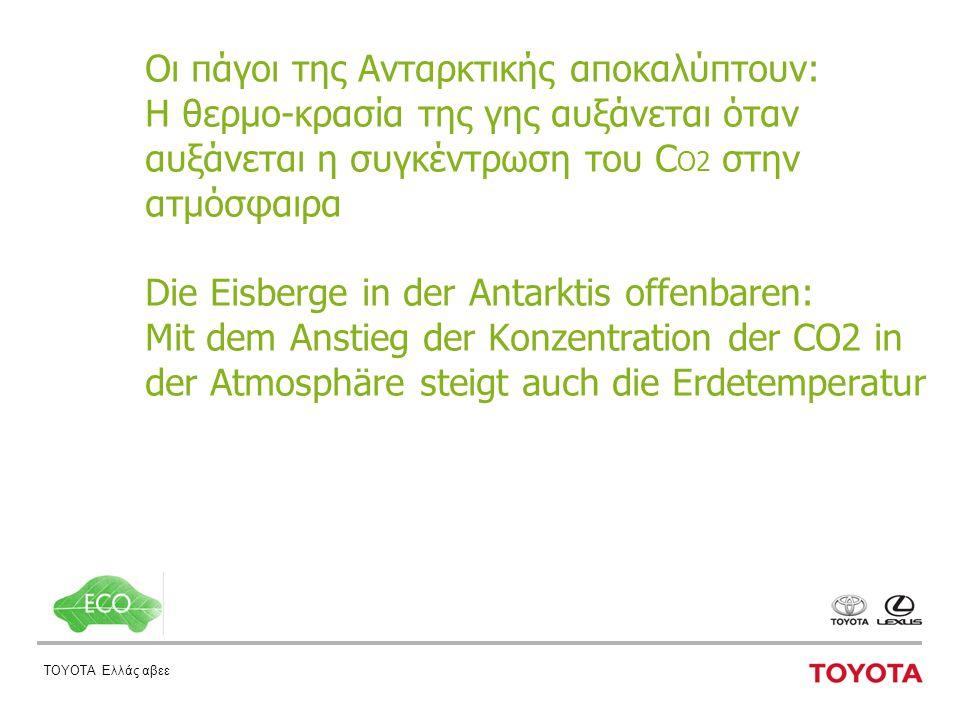 ΤΟΥΟΤΑ Ελλάς αβεε Οι πάγοι της Ανταρκτικής αποκαλύπτουν: H θερμο-κρασία της γης αυξάνεται όταν αυξάνεται η συγκέντρωση του C O2 στην ατμόσφαιρα Die Eisberge in der Antarktis offenbaren: Mit dem Anstieg der Konzentration der CO2 in der Atmosphäre steigt auch die Erdetemperatur