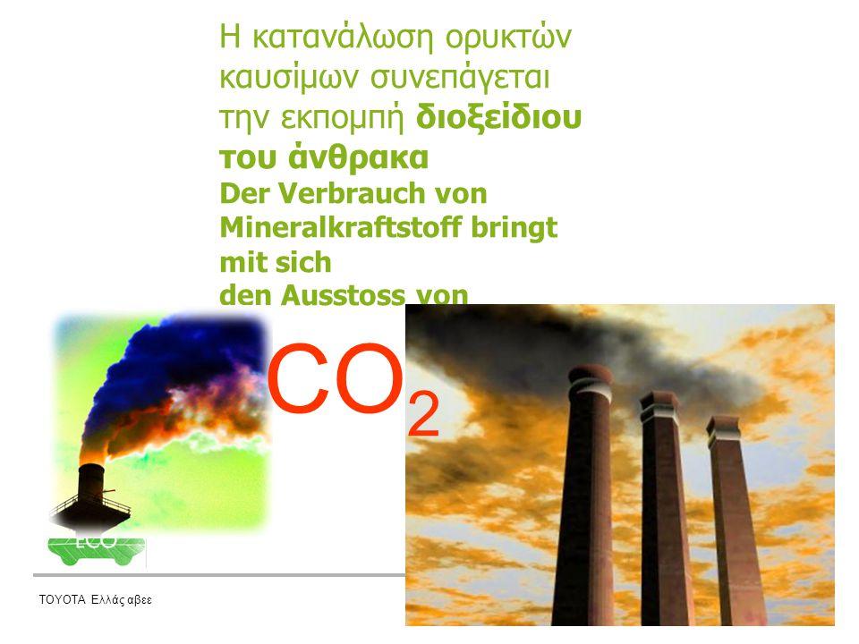ΤΟΥΟΤΑ Ελλάς αβεε Η κατανάλωση ορυκτών καυσίμων συνεπάγεται την εκπομπή διοξείδιου του άνθρακα Der Verbrauch von Mineralkraftstoff bringt mit sich den Ausstoss von CO 2